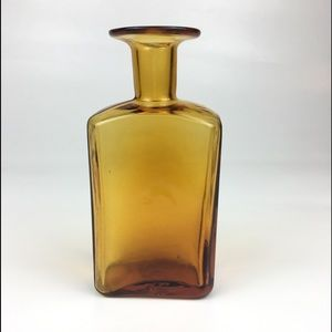 Hand Blown Amber Colored Glass Bottle Vase